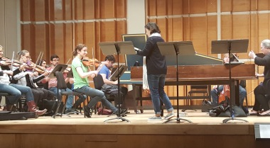 malia and violins, first rehearsal